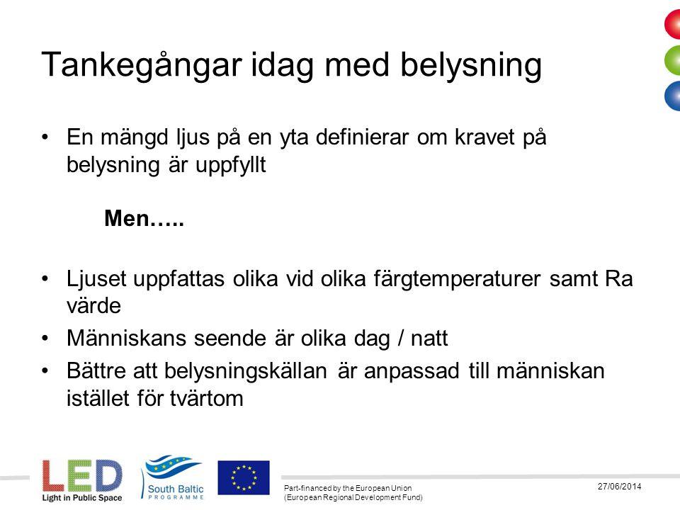 Part-financed by the European Union (European Regional Development Fund) 27/06/2014 Tankegångar idag med belysning •En tänkbar förbättring vore om belysningskällan kunde: –ändra Ra värde –ändra färgtemperatur –ändra ljusmängd •Anpassat till människans seende vid respektive situation