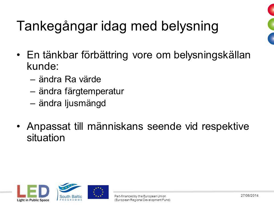Part-financed by the European Union (European Regional Development Fund) 27/06/2014 Tankegångar idag med belysning •En tänkbar förbättring vore om bel