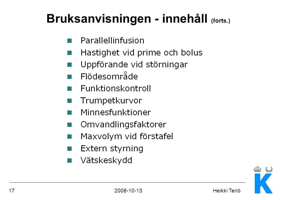 172008-10-13Heikki Teriö Bruksanvisningen - innehåll (forts.)