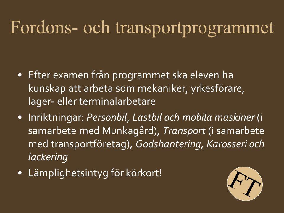 Fordons- och transportprogrammet •Efter examen från programmet ska eleven ha kunskap att arbeta som mekaniker, yrkesförare, lager- eller terminalarbet