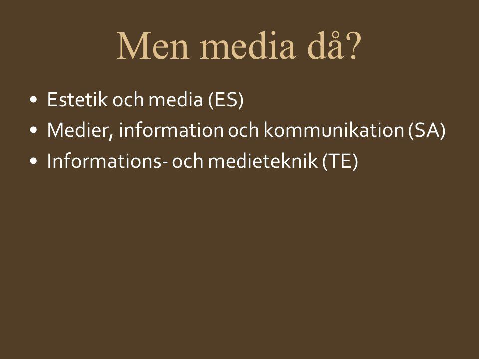 Men media då? •Estetik och media (ES) •Medier, information och kommunikation (SA) •Informations- och medieteknik (TE)