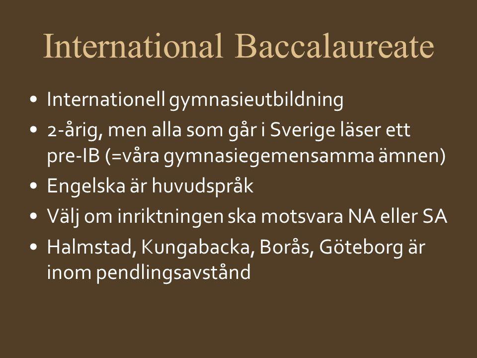 International Baccalaureate •Internationell gymnasieutbildning •2-årig, men alla som går i Sverige läser ett pre-IB (=våra gymnasiegemensamma ämnen) •