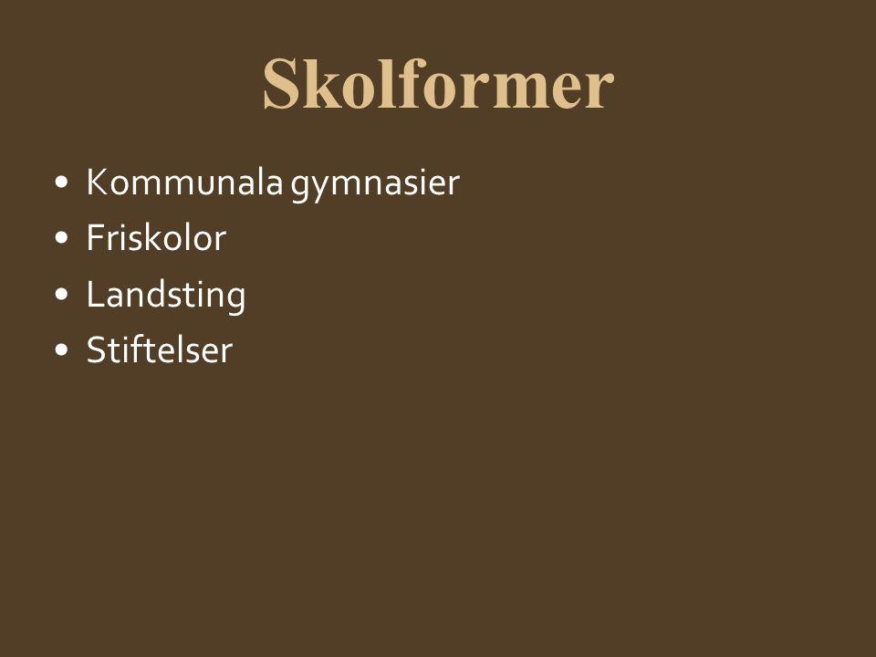 Skolformer •Kommunala gymnasier •Friskolor •Landsting •Stiftelser
