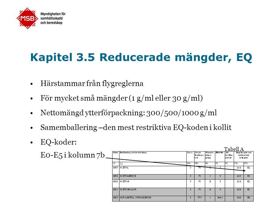 Kapitel 3.5 Reducerade mängder, EQ •Härstammar från flygreglerna •För mycket små mängder (1 g/ml eller 30 g/ml) •Nettomängd ytterförpackning: 300/500/