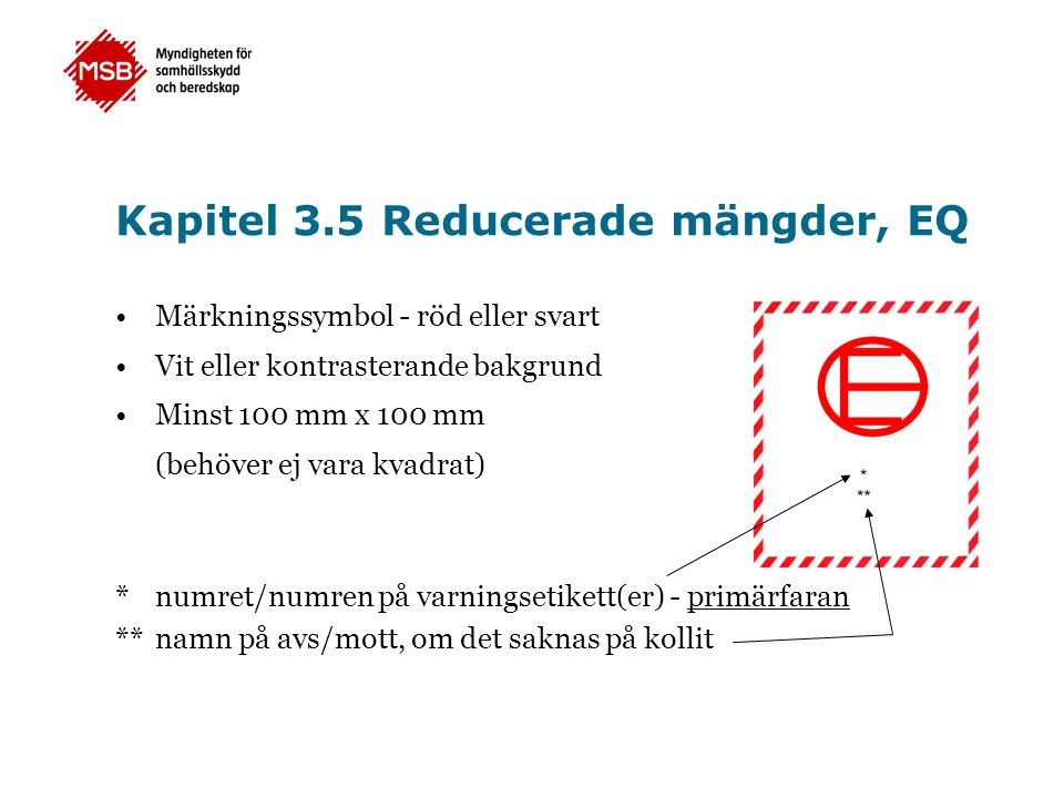 Kapitel 3.5 Reducerade mängder, EQ •Märkningssymbol - röd eller svart •Vit eller kontrasterande bakgrund •Minst 100 mm x 100 mm (behöver ej vara kvadr