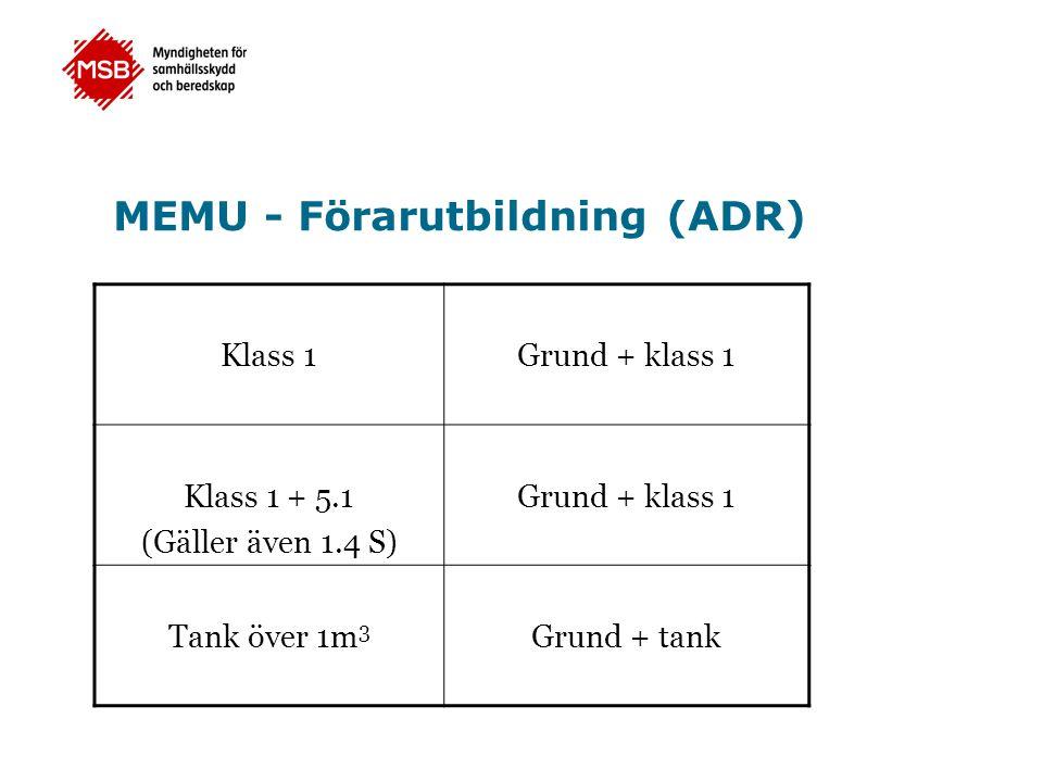 MEMU - Förarutbildning (ADR) Klass 1Grund + klass 1 Klass 1 + 5.1 (Gäller även 1.4 S) Grund + klass 1 Tank över 1m 3 Grund + tank