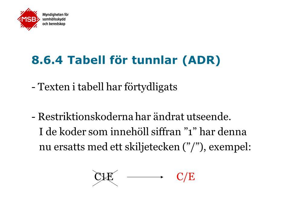 """8.6.4 Tabell för tunnlar (ADR) - Texten i tabell har förtydligats - Restriktionskoderna har ändrat utseende. I de koder som innehöll siffran """"1"""" har d"""