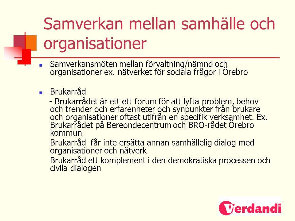 Samverkan mellan samhälle och organisationer  Samverkansmöten mellan förvaltning/nämnd och organisationer ex. nätverket för sociala frågor i Örebro 