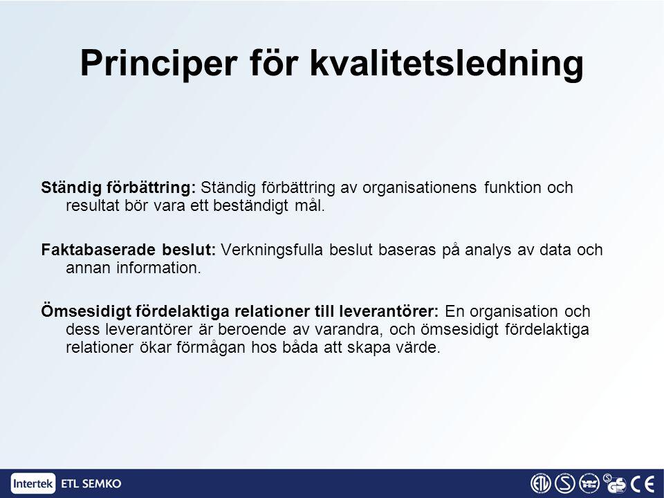 Ständig förbättring: Ständig förbättring av organisationens funktion och resultat bör vara ett beständigt mål. Faktabaserade beslut: Verkningsfulla be