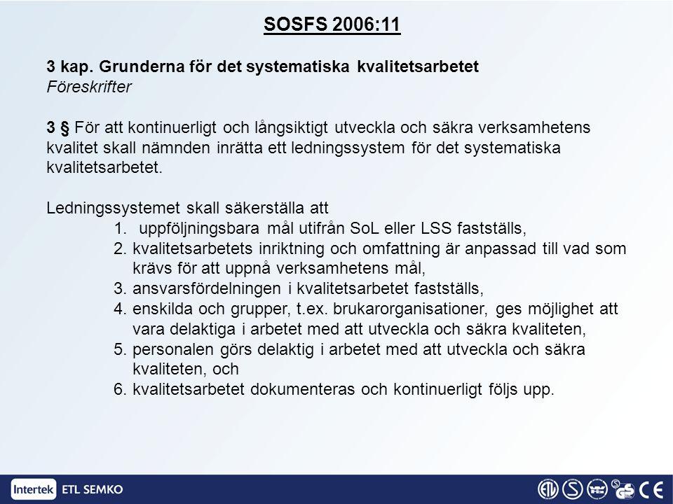 SOSFS 2006:11 3 kap. Grunderna för det systematiska kvalitetsarbetet Föreskrifter 3 § För att kontinuerligt och långsiktigt utveckla och säkra verksam