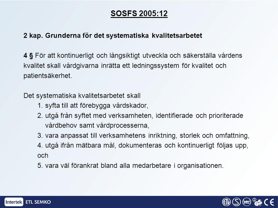 SOSFS 2005:12 2 kap. Grunderna för det systematiska kvalitetsarbetet 4 § För att kontinuerligt och långsiktigt utveckla och säkerställa vårdens kvalit