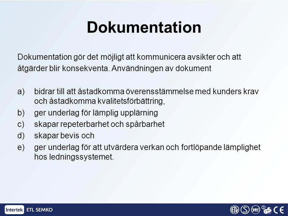 Dokumentation Dokumentation gör det möjligt att kommunicera avsikter och att åtgärder blir konsekventa. Användningen av dokument a)bidrar till att åst