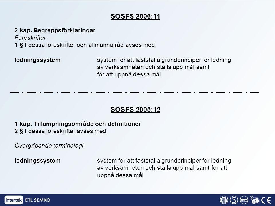 SOSFS 2006:11 2 kap. Begreppsförklaringar Föreskrifter 1 § I dessa föreskrifter och allmänna råd avses med ledningssystem system för att fastställa gr