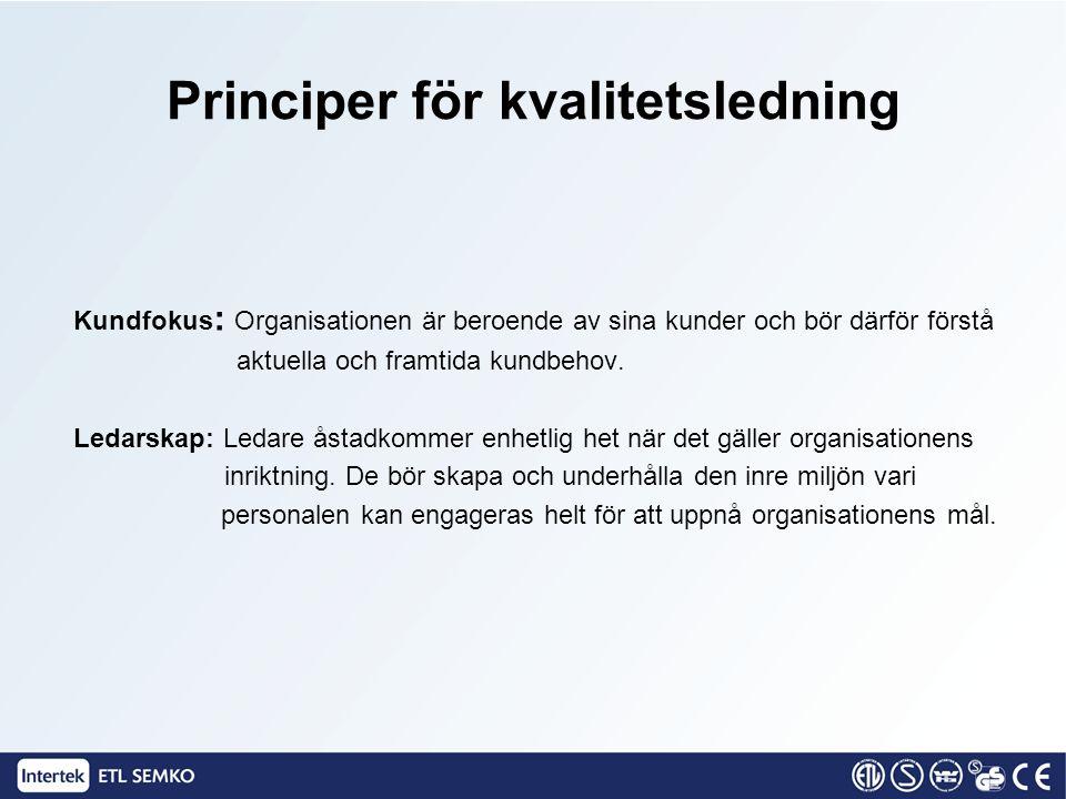 Kundfokus : Organisationen är beroende av sina kunder och bör därför förstå aktuella och framtida kundbehov. Ledarskap: Ledare åstadkommer enhetlig he