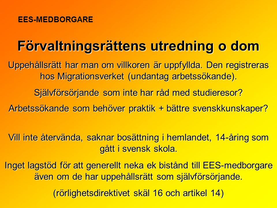 Uppehållsrätt har man om villkoren är uppfyllda. Den registreras hos Migrationsverket (undantag arbetssökande). Förvaltningsrättens utredning o dom EE