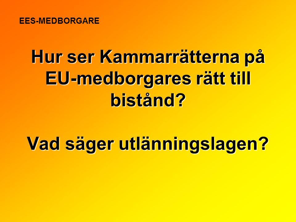 Hur ser Kammarrätterna på EU-medborgares rätt till bistånd? Vad säger utlänningslagen? EES-MEDBORGARE