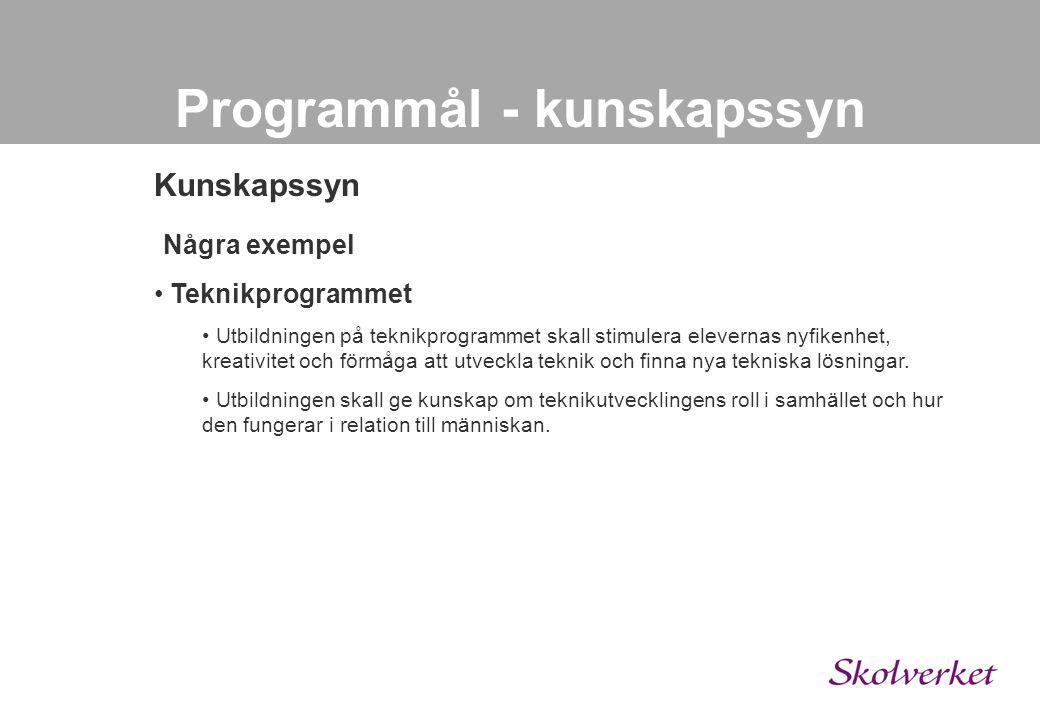 Programmål - kunskapssyn Kunskapssyn • Fyra F:en • fakta, förståelse, färdighet och förtrogenhet.