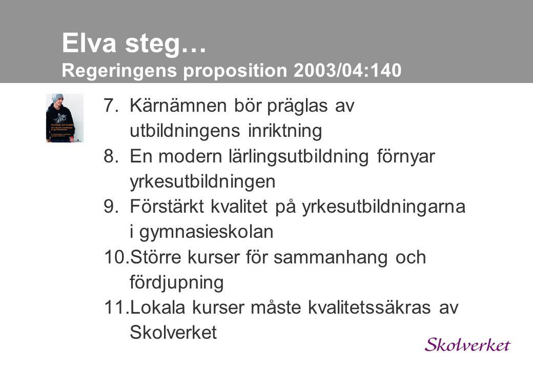 Elva steg… Regeringens proposition 2003/04:140 1.Ämnesbetyg ersätter dagens kursbetyg 2.En gymnasieexamen införs 3.Gymnasiearbete stärker helhetssynen