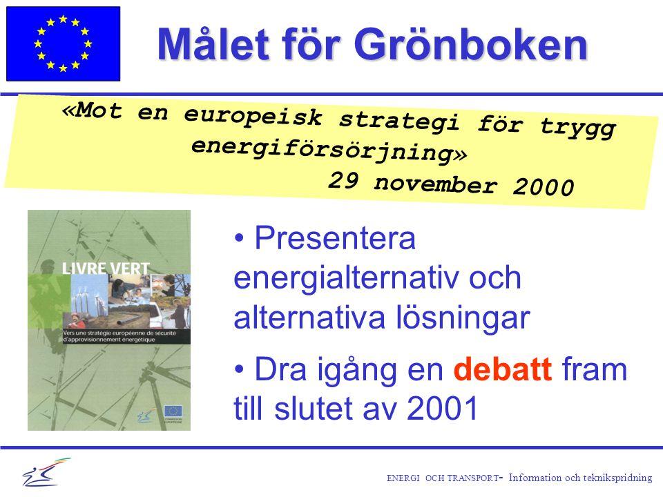 ENERGI OCH TRANSPORT - Information och teknikspridning Målet för Grönboken «Mot en europeisk strategi för trygg energiförsörjning» 29 november 2000 • Dra igång en debatt fram till slutet av 2001 • Presentera energialternativ och alternativa lösningar