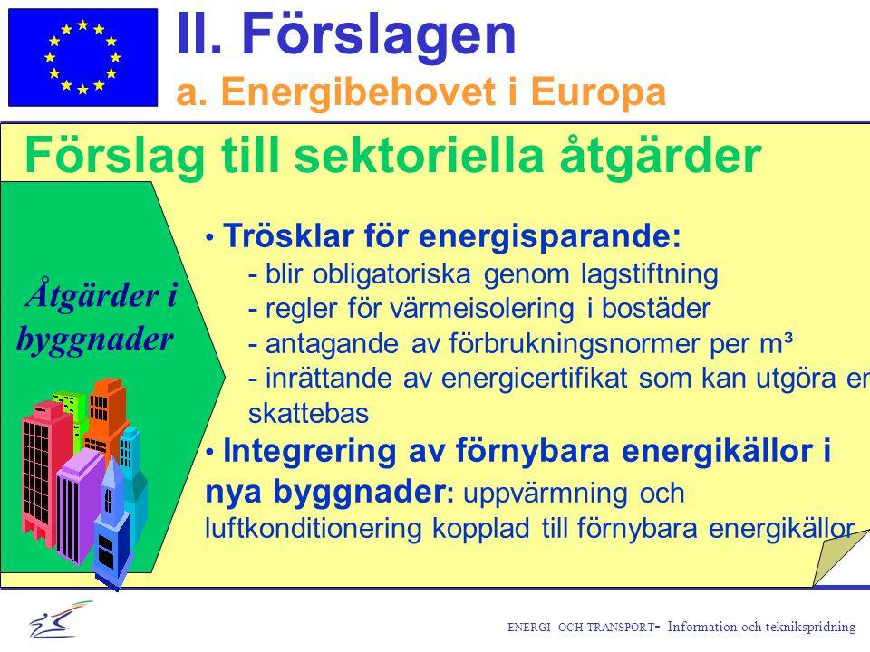 ENERGI OCH TRANSPORT - Information och teknikspridning Åtgärder i byggnader • Trösklar för energisparande: - blir obligatoriska genom lagstiftning - regler för värmeisolering i bostäder - antagande av förbrukningsnormer per m³ - inrättande av energicertifikat som kan utgöra en skattebas • Integrering av förnybara energikällor i nya byggnader : uppvärmning och luftkonditionering kopplad till förnybara energikällor II.