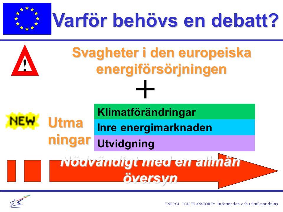ENERGI OCH TRANSPORT - Information och teknikspridning Varför behövs en debatt.