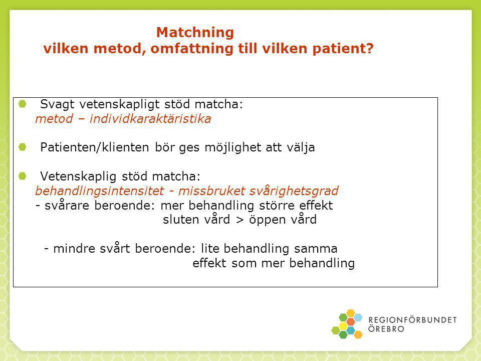 Matchning vilken metod, omfattning till vilken patient.