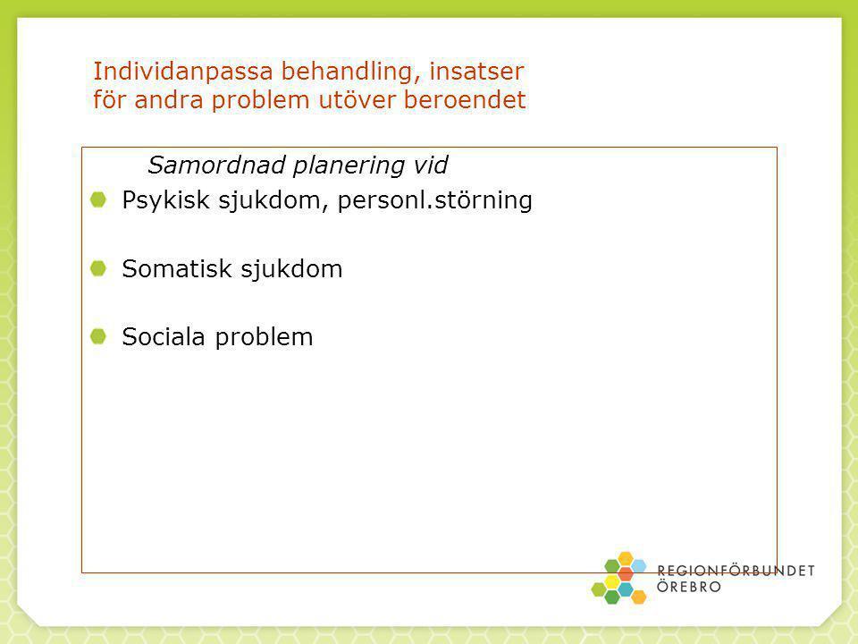 Individanpassa behandling, insatser för andra problem utöver beroendet Samordnad planering vid Psykisk sjukdom, personl.störning Somatisk sjukdom Sociala problem