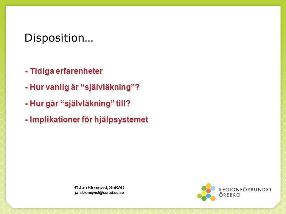 Disposition… - Tidiga erfarenheter - Hur vanlig är självläkning .