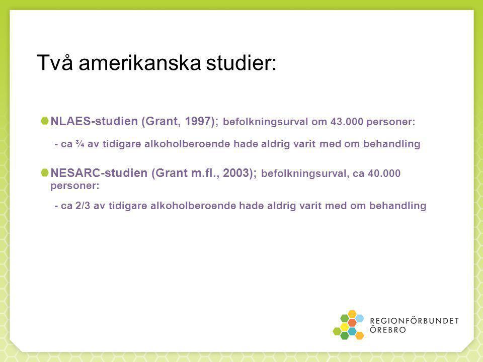 Två amerikanska studier: NLAES-studien (Grant, 1997); befolkningsurval om 43.000 personer: - ca ¾ av tidigare alkoholberoende hade aldrig varit med om behandling NESARC-studien (Grant m.fl., 2003); befolkningsurval, ca 40.000 personer: - ca 2/3 av tidigare alkoholberoende hade aldrig varit med om behandling