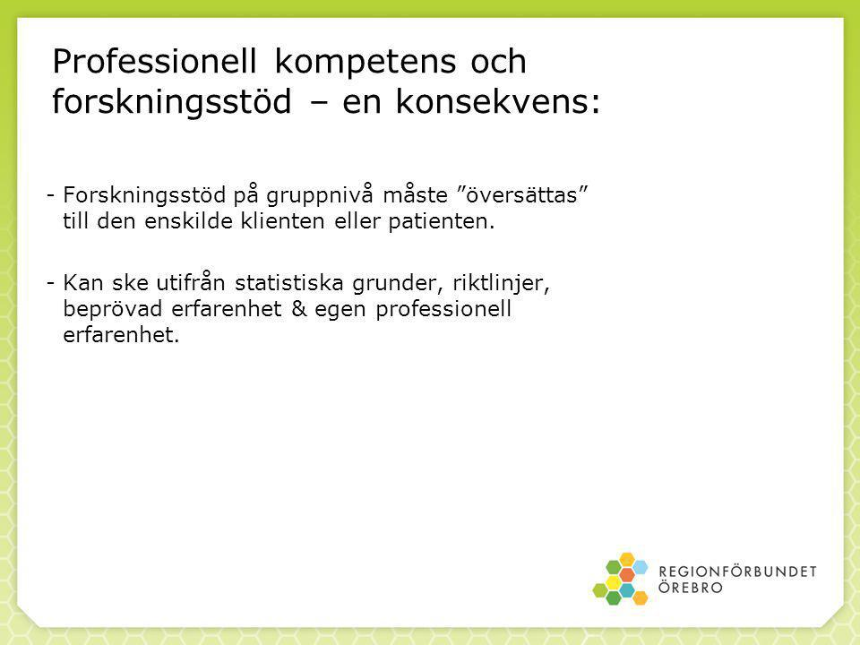 85 Professionell kompetens och forskningsstöd – en konsekvens: -Forskningsstöd på gruppnivå måste översättas till den enskilde klienten eller patienten.