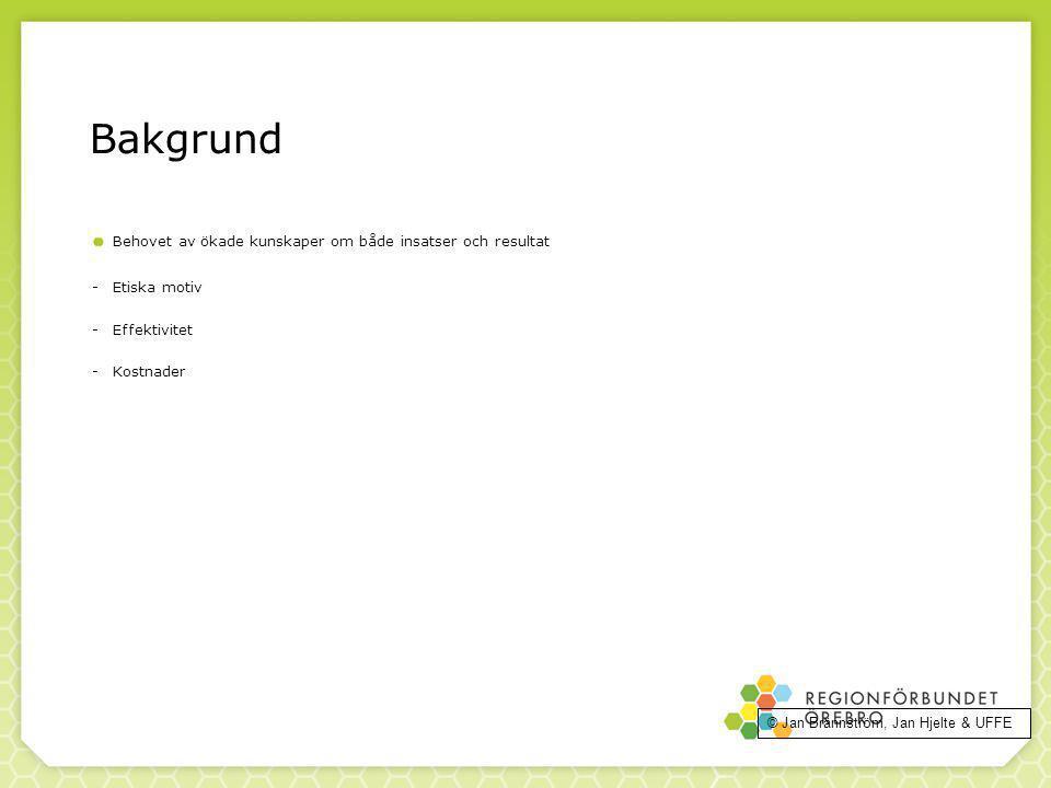 92 Bakgrund Behovet av ökade kunskaper om både insatser och resultat -Etiska motiv -Effektivitet -Kostnader © Jan Brännström, Jan Hjelte & UFFE