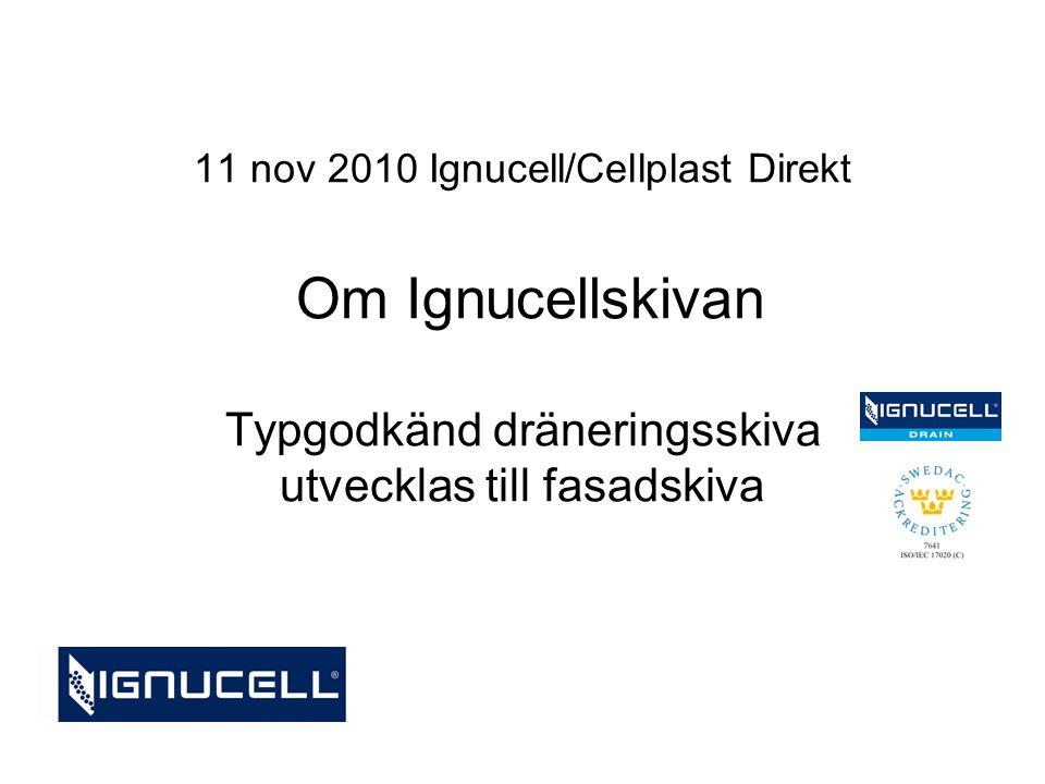 11 nov 2010 Ignucell/Cellplast Direkt Om Ignucellskivan Typgodkänd dräneringsskiva utvecklas till fasadskiva