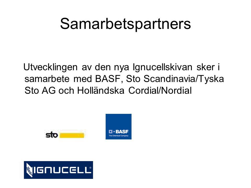 Samarbetspartners Utvecklingen av den nya Ignucellskivan sker i samarbete med BASF, Sto Scandinavia/Tyska Sto AG och Holländska Cordial/Nordial