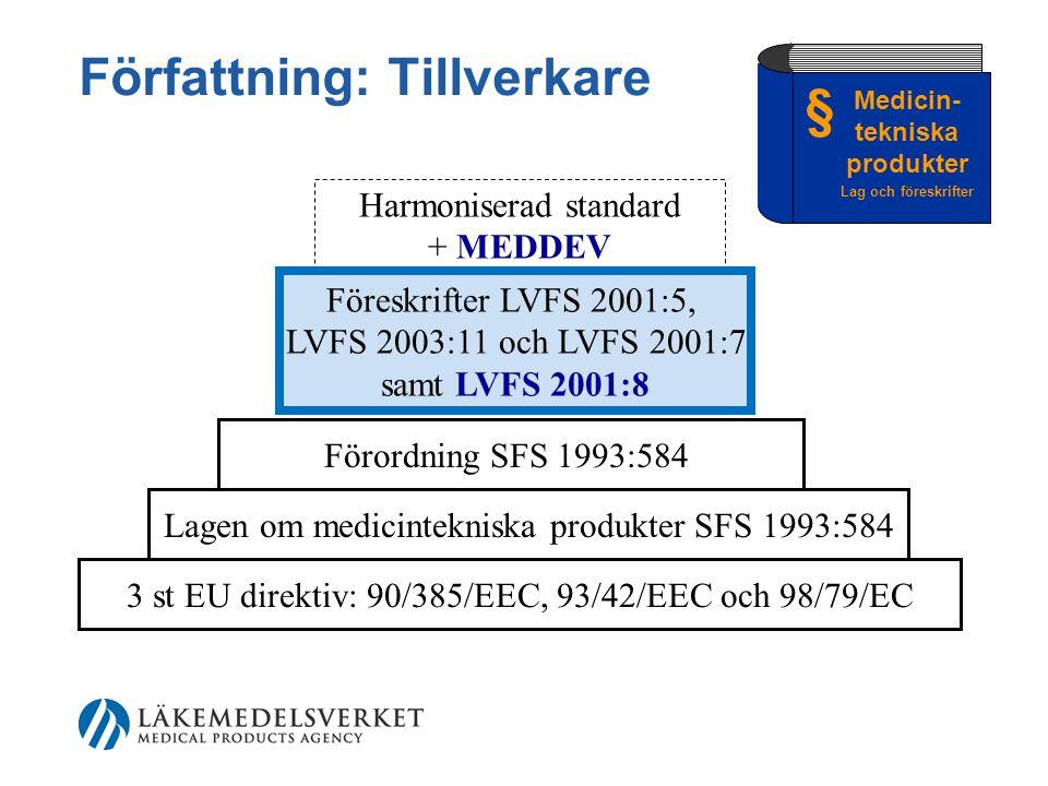 Författning: Tillverkare 3 st EU direktiv: 90/385/EEC, 93/42/EEC och 98/79/EC Lagen om medicintekniska produkter SFS 1993:584 Förordning SFS 1993:584 Harmoniserad standard + MEDDEV § Medicin- tekniska produkter Lag och föreskrifter Föreskrifter LVFS 2001:5, LVFS 2003:11 och LVFS 2001:7 samt LVFS 2001:8