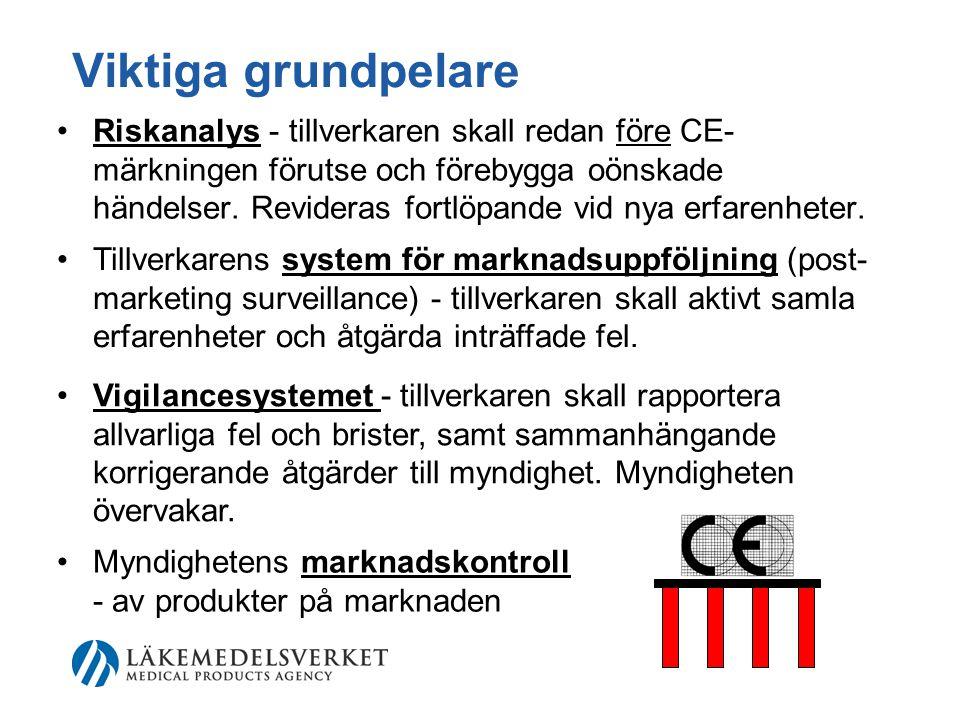 Viktiga grundpelare •Riskanalys - tillverkaren skall redan före CE- märkningen förutse och förebygga oönskade händelser.