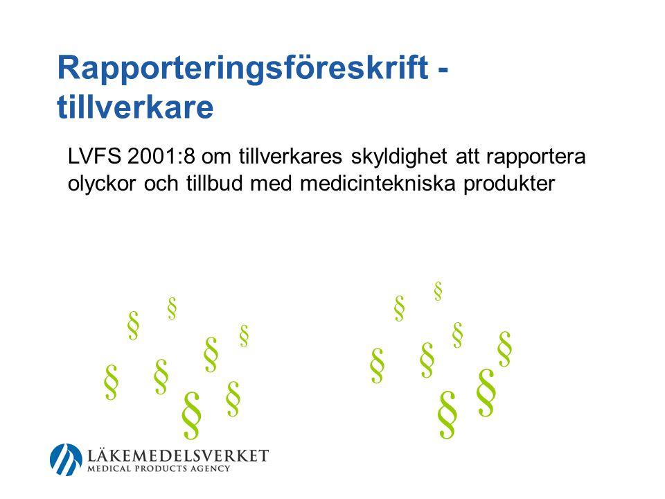 Rapporteringsföreskrift - tillverkare LVFS 2001:8 om tillverkares skyldighet att rapportera olyckor och tillbud med medicintekniska produkter § § § § § § § § § § § § § § § §