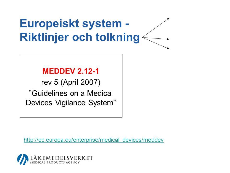 Europeiskt system - Riktlinjer och tolkning MEDDEV 2.12-1 rev 5 (April 2007) Guidelines on a Medical Devices Vigilance System http://ec.europa.eu/enterprise/medical_devices/meddev
