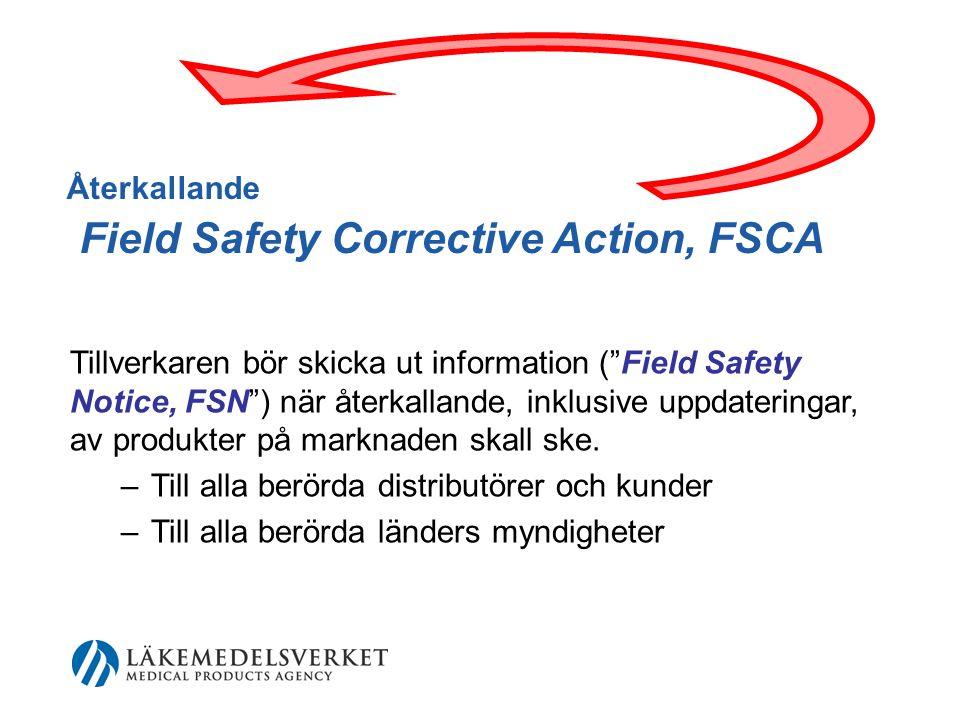 Återkallande Field Safety Corrective Action, FSCA Tillverkaren bör skicka ut information ( Field Safety Notice, FSN ) när återkallande, inklusive uppdateringar, av produkter på marknaden skall ske.