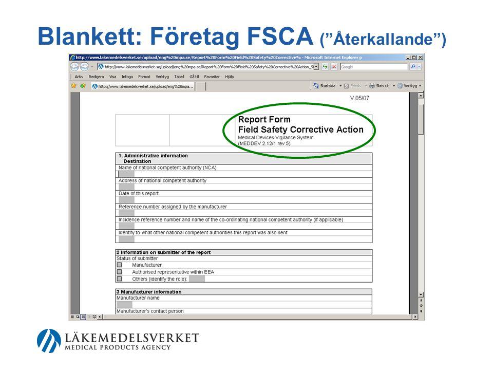 Blankett: Företag FSCA ( Återkallande )