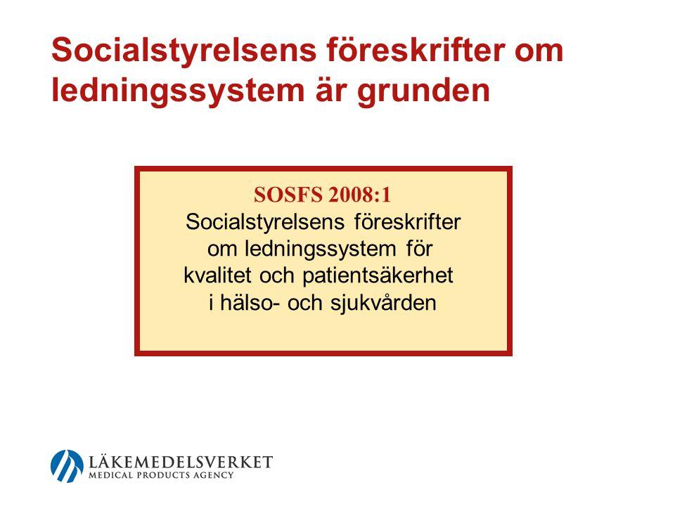 Socialstyrelsens föreskrifter om ledningssystem är grunden SOSFS 2008:1 Socialstyrelsens föreskrifter om ledningssystem för kvalitet och patientsäkerhet i hälso- och sjukvården