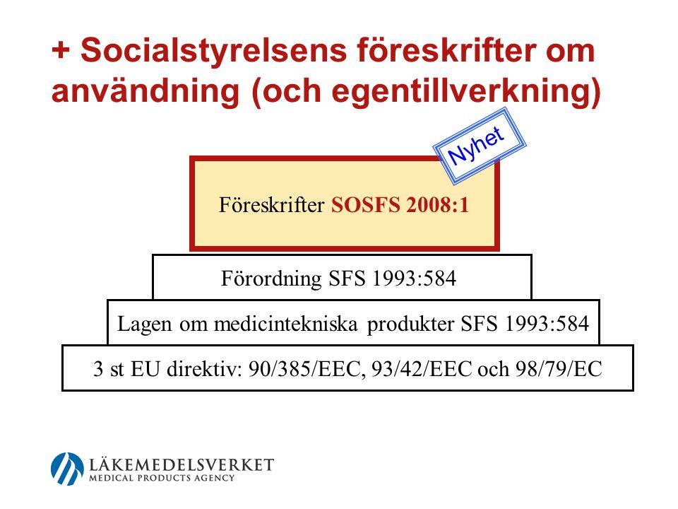 + Socialstyrelsens föreskrifter om användning (och egentillverkning) Föreskrifter SOSFS 2008:1 3 st EU direktiv: 90/385/EEC, 93/42/EEC och 98/79/EC Lagen om medicintekniska produkter SFS 1993:584 Förordning SFS 1993:584 Nyhet