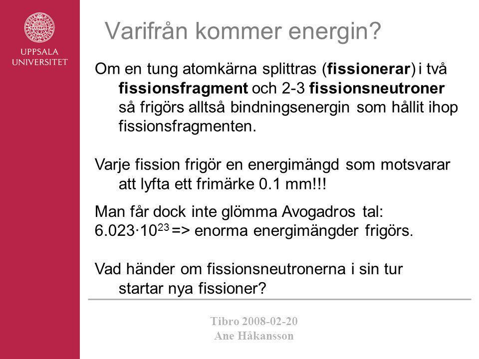 Tibro 2008-02-20 Ane Håkansson Varifrån kommer energin? Om en tung atomkärna splittras (fissionerar) i två fissionsfragment och 2-3 fissionsneutroner