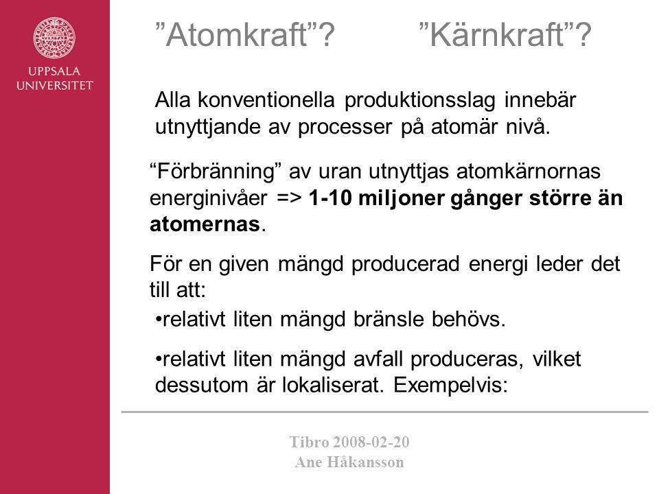 """Tibro 2008-02-20 Ane Håkansson """"Atomkraft""""? """"Kärnkraft""""? Alla konventionella produktionsslag innebär utnyttjande av processer på atomär nivå. •relativ"""