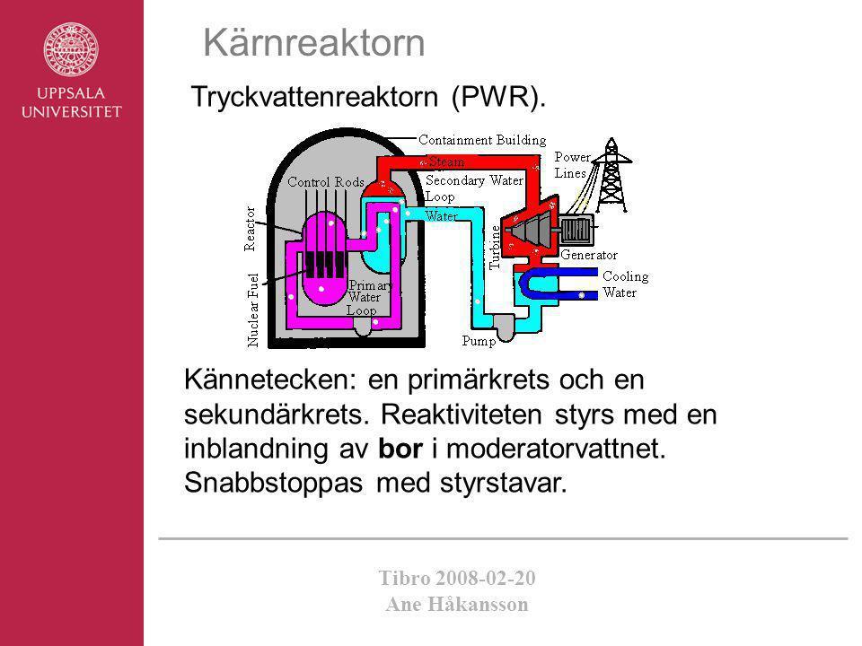 Tibro 2008-02-20 Ane Håkansson Tryckvattenreaktorn (PWR). Kärnreaktorn Kännetecken: en primärkrets och en sekundärkrets. Reaktiviteten styrs med en in