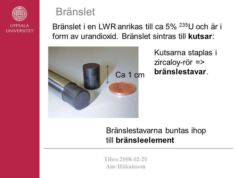 Tibro 2008-02-20 Ane Håkansson Bränslet Bränslet i en LWR anrikas till ca 5% 235 U och är i form av urandioxid. Bränslet sintras till kutsar: Kutsarna