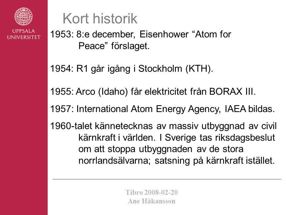 "Tibro 2008-02-20 Ane Håkansson 1953: 8:e december, Eisenhower ""Atom for Peace"" förslaget. 1954: R1 går igång i Stockholm (KTH). 1955: Arco (Idaho) får"
