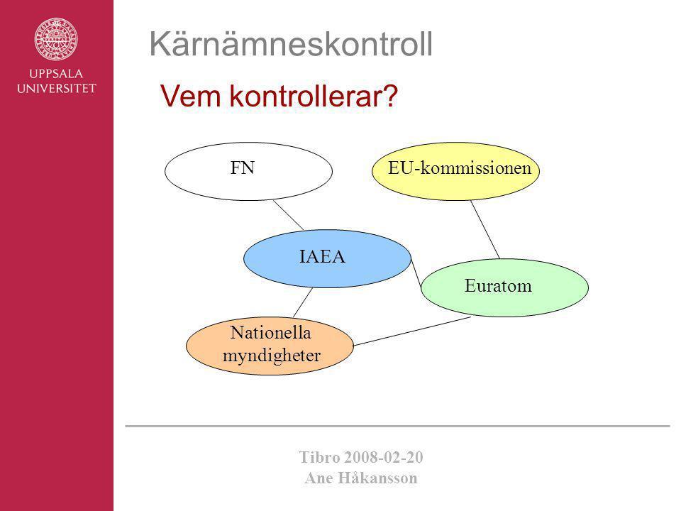 Tibro 2008-02-20 Ane Håkansson Kärnämneskontroll Vem kontrollerar? FN IAEA Euratom EU-kommissionen Nationella myndigheter