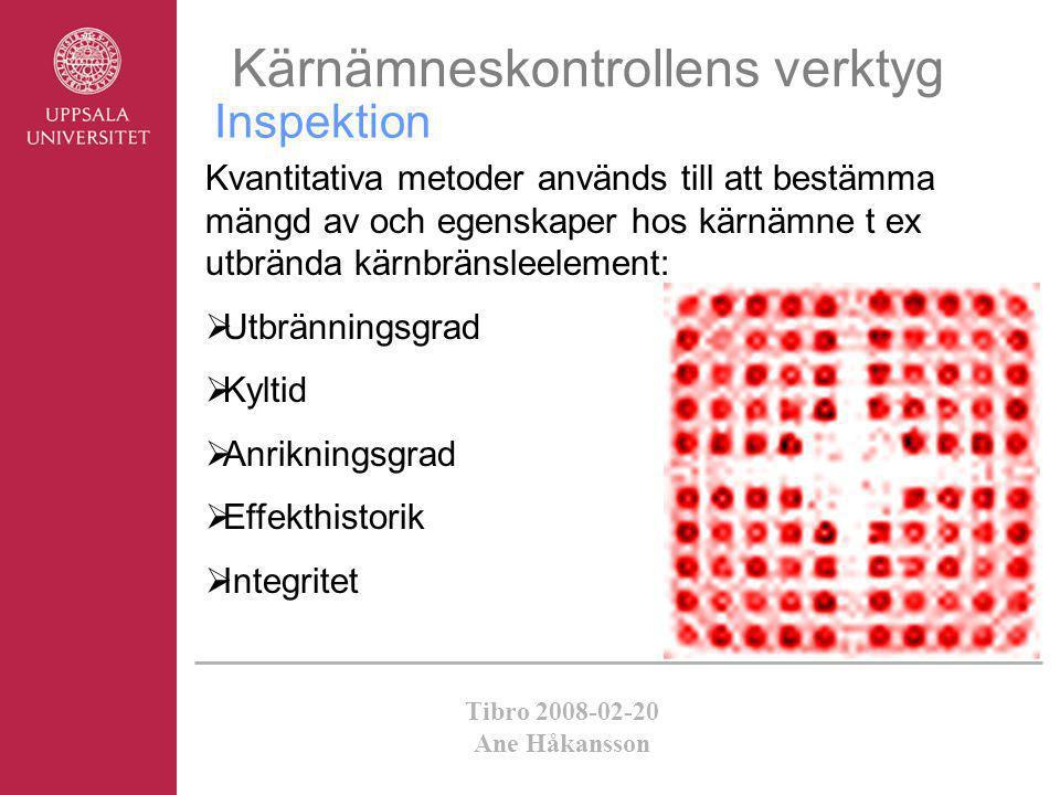 Tibro 2008-02-20 Ane Håkansson Inspektion Kärnämneskontrollens verktyg Kvantitativa metoder används till att bestämma mängd av och egenskaper hos kärn