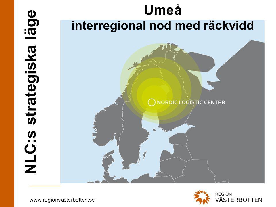 www.regionvasterbotten.se NLC:s strategiska läge Umeå interregional nod med räckvidd
