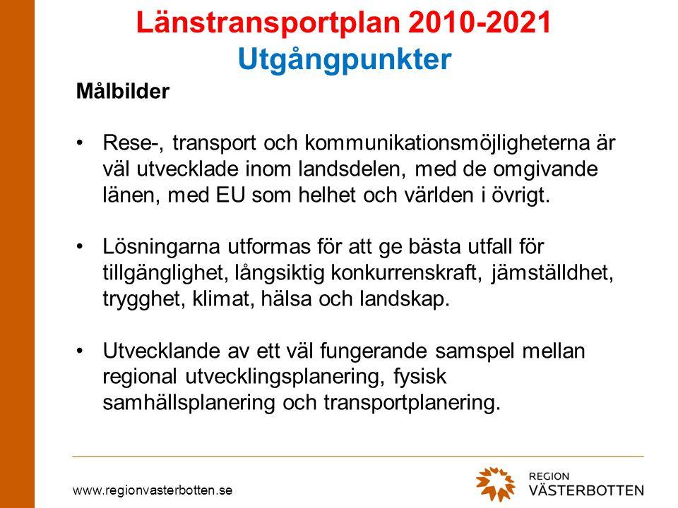 www.regionvasterbotten.se Planens utgångpunkter, forts Vilar på tre ben •Förstärka de systemeffekter som uppstår av Botniabanans förverkligande.